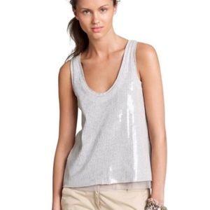 J. Crew collection sequin gray top medium